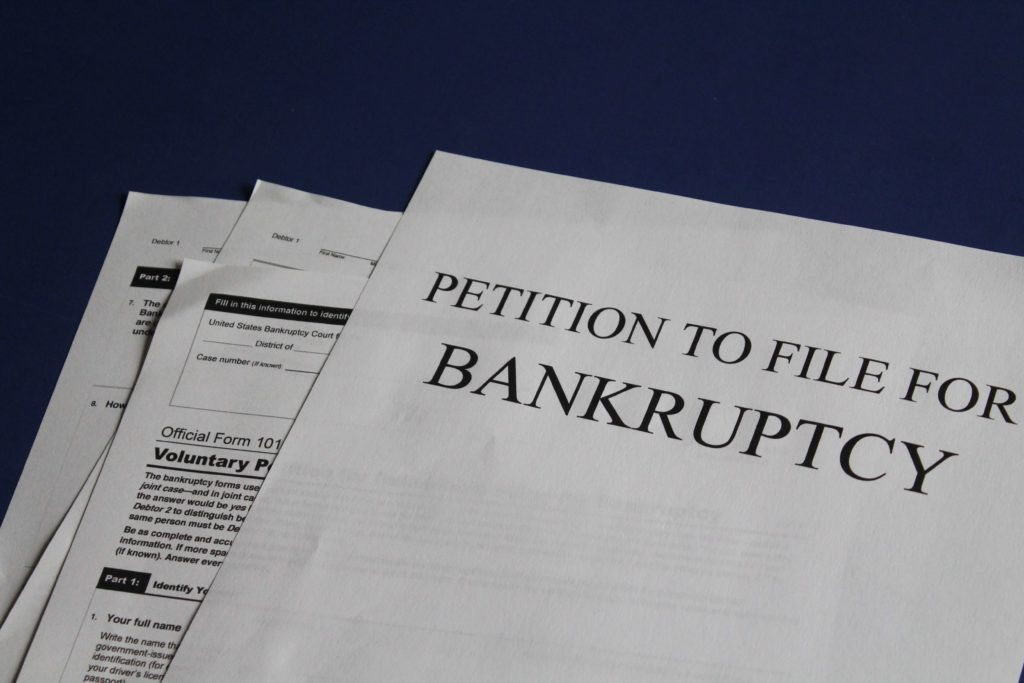 A photo of Bankruptcy forms
